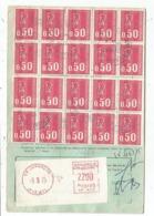 BEQUET 50C TIMBRE CARNET X20 + ETIQUETTE EMA 22.00 CARTE ORDRE REEXEDITION JURANCON PYR ATL 6.3.1975 - 1971-76 Marianne De Béquet