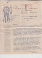 Grenoble  Facture Commerciale Avec Enveloppe Regom Pneus 1929 - 1900 – 1949