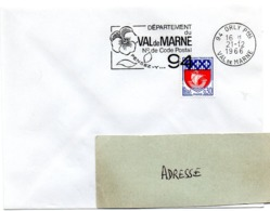 VAL De MARNE - Dépt N° 94  ORLY Ppal 1966 = FLAMME Codée = SECAP  ' N° De CODE POSTAL / PENSEZ-Y ' - Zipcode