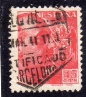 SPAIN ESPAÑA SPAGNA 1939 1940 GENERAL FRANCISCO FRANCO CENT. 45c USED USATO OBLITERE' - 1931-Aujourd'hui: II. République - ....Juan Carlos I