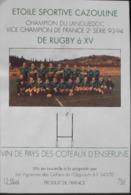 ETIQUETTE De VIN - Coteaux D'Ensérune - ETOILE SPORTIVE CAZOULINE De RUGBY à 15 - Champion Du Languedoc 93-94 - BE - Soccer