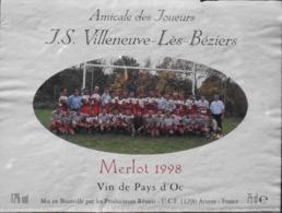 ETIQUETTE De VIN - De Pays D'OC - AMICALE Des JOUEURS J.S. Villeneuve-lès-Béziers - Merlot 1998 - BE - Soccer