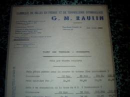 Facture    Année 1938 RAULIN  Fabrique De Billes En Pierre Et Tonnellerie D Emballage à Pont St Vincent - Frankreich