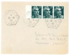 YONNE ENV 1945 MONTILLOT AGENCE POSTALE SUPERBE SUR BANDE DE 3 DU 2F GANDON - Marcophilie (Lettres)