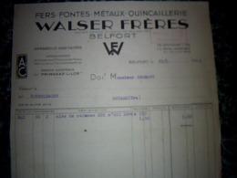 Facture  Année 1939 WALSER FRÈRES Fers Fontes Métaux à BELFORT Agent PRIMAGAZ - Frankreich