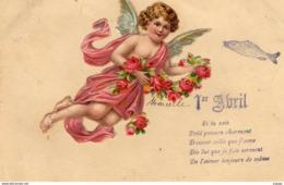 FÊTES-VOEUX  1er AVRIL Poisson D'Avril Découpis  Ange Avec  Roses - April Fool's Day