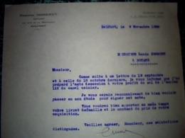 Facture Lettre à Entête Année 1938  Maitre ÉTIENNE MISSEREY Notaire à Belfort - Frankreich