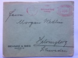 GERMANY 1932 Cover `Freie Stadt Danzig` Meter Mark 35 Pf Rate Sent To Helsingborgs Sweden - Deutschland
