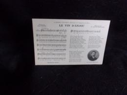 """Carte Partition. """" Le Vin D' Anjou """" Musique De David - Bernard . Poésie De Paul Pionis . Voir 2 Scans . - Musique Et Musiciens"""
