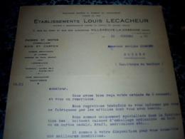 Facture Lettre à Entête Année 1938 Ets LECACHEUR Caisses Et Boîtes Et Cartons  à Villeneuve La Garenne - Frankreich