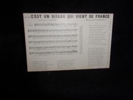 """Militaria .Patriotique.Carte Partition. """" C'est Un Oiseau Qui Vient De France   """" Musique De Boissière .Texte De Soubise - Musique Et Musiciens"""