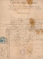 VP15.827 - MILITARIA - BEAULIEU (Corrèze) 1888 - Etat De Service De J.B.DAUVIS Marin à TOULON Puis Au 12è Rgt T. D'Art - Documents