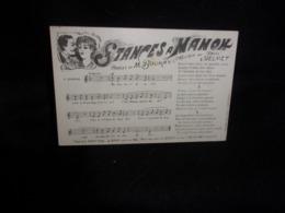 """Carte Partition. """"Stances à Manon   """" Musique De Delmet  .Paroles De Boukay.Voir 2 Scans . - Musique Et Musiciens"""