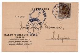 1930 YUGOSLAVIA, CROATIA, ZAGREB TO SVILAJNAC, MAKSO WOHLMUTH, ZAGREB, CORRESPONDENCE CARD - 1919-1929 Kingdom Of Serbs, Croats And Slovenes