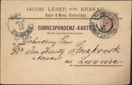 CP Jacob Leser Jun Krakau Hanf Werg Niederlage YT Autriche 47 CAD Pologne Krakau Bahnpost Dworzes 18 12 1892 CAD Lemberg - ....-1919 Provisional Government