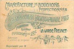 """83 - LA GARDE-FREINET - MANUFACTUYRE DE BOUCHONS """"BERRIGUIER ALEXANDRE FILS"""" - CARTE COMMERCIALE ANCIENNE (8 X 12 Cm). - La Garde Freinet"""