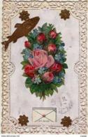 FÊTES-VOEUX  1er Avril  Poisson D'Avril  Chromo Découpis.  Poisson, Bouquet De Roses - 1 April (aprilvis)