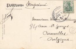 OBLITERATION AMBULANT FRANKFURT - KARLSRUHE SUR CARTE POSTALE VERS BRUXELLES - Duitsland