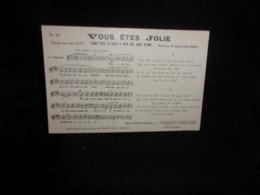 """Carte Partition. """" Vous êtes Jolie  """" Musique De Paul Delmet .Poésie De Léon Sués .Voir 2 Scans . - Musique Et Musiciens"""