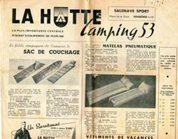Journal -  LA  HUTTE  CAMPING 53 - La Plus Importante Centrale D'achat D'équipement De Plein-air - 2 Grandes Pages. - Journaux - Quotidiens