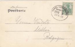 OBLITERATION AMBULANT BASEL - LUXEMBOURG SUR CARTE POSTALE VERS MELLIER - Duitsland