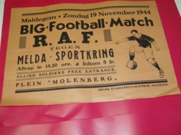 Affiche Poster - Maldegem Voetbal , Football Match - RAF Brits Leger Tegen Melda Sportkring - 19 Nov 1944 - Afiches