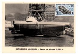 CARTE MAXIMUM 1963 BATHYSCAPHE ARCHIMEDE - 1960-69