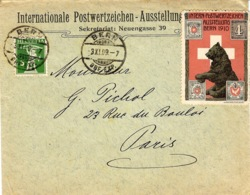 1909- Enveloppe Ouverte Affr. 5 C  De BERN + Vignette Intern-Postwertzekhen Ausstellung BERN 1910 - Covers & Documents