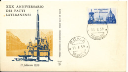 Italy FDC Roma 11-2-1959 Lateranensi Pact 30th Anniversary With Cachet - FDC