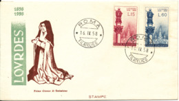 Italy FDC Roma 16-4-1958 LOURDES 100th Anniversary Complete Set Of 2 With Cachet - FDC