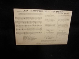 """Carte Partition. """" La Lettre Du Gabier  """" Par Théodore Botrel .Voir 2 Scans . - Musique Et Musiciens"""