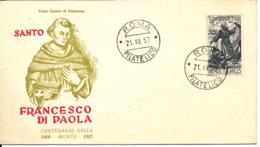 Italy FDC Roma 21-12-1957 Francesco De Paola With Cachet - FDC