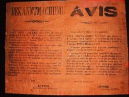 AFFICHE #1 AVIS DOUAI 1915 BEKANNTMACHUNG OCCUPATION ARMEE ALLEMANDE  OFFICIERS FRANCAIS FUSILLES - 1914-18