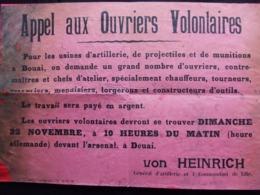 AFFICHE #2 AVIS LILLE  OCCUPATION ARMEE ALLEMANDE  APPEL OUVRIERS VOLONTAIRES USINES ARTILLERIE - 1914-18