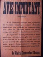 AFFICHE #5 AVIS IMPORTANT LILLE 1915 OCCUPATION ARMEE ALLEMANDE   COMMUNICATIONS INTERDITES - 1914-18