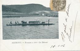 Agimont Hastières Passage à Gué . Depart . Ferry Boat . Attelage Cheval  1902 - Hastière