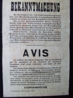 AFFICHE #9 AVIS VALENCIENNES 1915 OCCUPATION ARMEE ALLEMANDE BILLET D EMPRUNT MONNAIE NECESSITEE - 1914-18