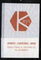 Serviette Papier Paper Napkin Tovagliolino Caffè Bar Keys Aperitivi Caffetteria Drink Piazza San Pietro GALATINA (LE) - Werbeservietten