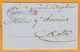 1847 - LAC En PP & En Italien De Marseille, France Vers Malte/Malta, Col GB Par Paquebot Vapeur BOSPHORE - Maritime Post