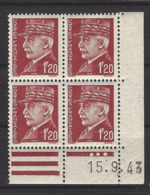 CD 515 FRANCE 1943 COIN DATE 515 : 15 / 9 / 43 EFFIGIES DU MARECHAL PETAIN - Dated Corners