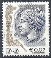 Italia, 2002, Ritratto Di Donna, 0.02€ Multi # Sassone 2585 - Michel 2816 - Scott 2437 USATO - 6. 1946-.. Repubblica
