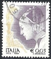Italia, 2002, Ritratto Di Donna, Di Piero Della Francesca, 0.03€ Multi # Sassone 2585A - Michel 2830 - Scott 2438 USATO - 6. 1946-.. Repubblica