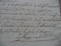 Baron De Rillérieux Maire De Belley  Ain LAS Autographe Signée 06/12/1820 à Porpos De L'Hospice Manuscrit Au Dos - Autographes