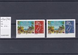 Timbres Personnalisés Adhésifs NOUVELLE CALEDONIE N°1301 Et 1302 Avec Logo Cagou . Rares . Petits Tirages - Unused Stamps