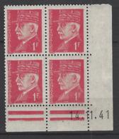 CD 514 FRANCE 1941 COIN DATE 514 : 14 / 11 / 41 EFFIGIES DU MARECHAL PETAIN - Dated Corners