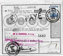 """SH 0132. N° 120 Obl. BRUXELLES 1 - 17.VIII.14 S/Bon De POSTE D' AYWAILLE (GRIFFE + Càd 29.VII.14). GFF PAYE Et """"3"""" (Fr). - WW I"""
