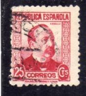 SPAIN ESPAÑA SPAGNA 1931 1934 MANUEL RUIZ ZORRILLA CENT. 25c USED USATO OBLITERE' - 1931-Tegenwoordig: 2de Rep. - ...Juan Carlos I