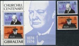 Gibraltar 1974 319-320 + BL.1 100th Birth Anniversary Of Winston Churchill - Sir Winston Churchill