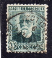SPAIN ESPAÑA SPAGNA 1931 1932 NICOLAS SALMERON CENT. 15c USED USATO OBLITERE' - 1931-Tegenwoordig: 2de Rep. - ...Juan Carlos I