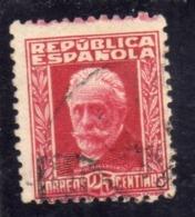 SPAIN ESPAÑA SPAGNA 1931 1932 PABLO IGLESIAS CENT. 25c USED USATO OBLITERE' - 1931-Aujourd'hui: II. République - ....Juan Carlos I